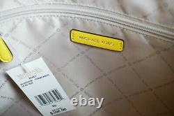 Michael Kors Kenly Large Ns Tote Sac Sac Sac Pvc Cuir Mk Jaune Blanc