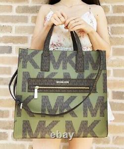 Michael Kors Kenly Large Ns Tote Satchel Graphic Logo Brown Mk Army Green Multi