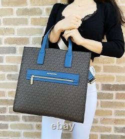 Michael Kors Kenly Large Ns XL Tote Brown Mk Signature Dark Chambray Blue Bag