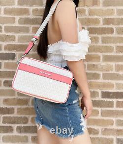 Michael Kors Kenly Large Pocket Crossbody Messenger Bag Blanc Mk Pamplemousse Rose