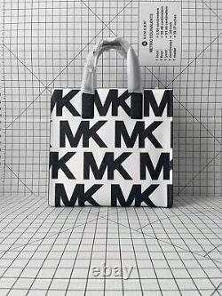 Michael Kors Kenly North South Grand Tote Signature Mk Crossbody Sac Noir/blanc