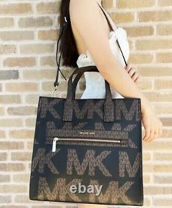 Michael Kors Kenly XL Large Ns Tote Satchel Bag Brown Mk Graphic Logo Noir