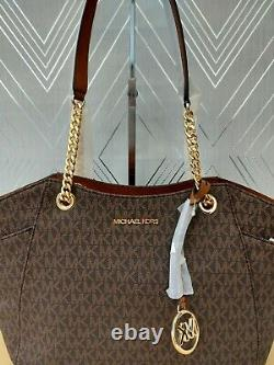 Michael Kors Ladies Large Jet Set Travel Leather Chain Shoulder Tote Bag Bbwt