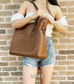 Michael Kors Lenox Large Tote Pebbled Leather Mk Shoulder Bag In Luggage