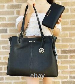 Michael Kors Lenox Large Tote Pebbled Leather Shoulder Bag Noir + Portefeuille