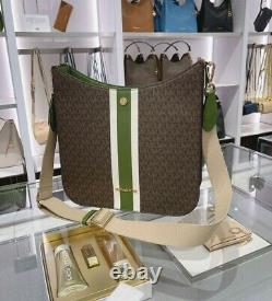 Michael Kors Mk Briley Grand Messenger Crossbody Signature Brown Evergreen