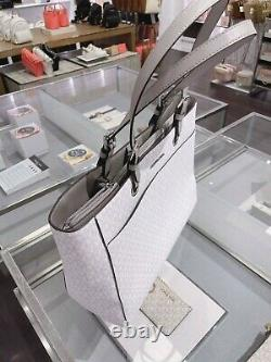 Michael Kors Mk Jet Set Voyage Grand Commuter Tote Sac Ordinateur Portable Bright White Grey