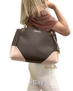 Michael Kors Nicole Grand Emballage D'épaule Mk Signature Pvc Brown Bag Blossom