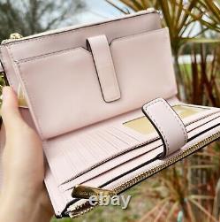 Michael Kors Nicole Grand Fourre-tout Brun Mk Poudre Blush Pink + Double Zip Wristlet