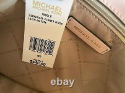 Michael Kors Nicole Grand Sac À Bandoulière Mk Signature Marron Rose Blush 448 $