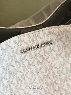 Michael Kors Nicole Grand Sac Fourre-tout D'épaule Mk Blanc Gris Signature 448 $