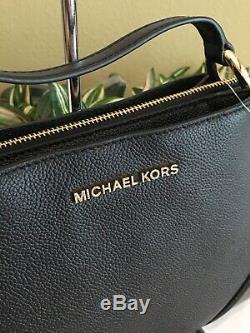 Michael Kors Nicole Grand Triple Compartiment Sac À Bandoulière En Cuir Noir 328 $