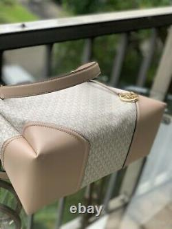 Michael Kors Nicole Grande Épaule En Cuir Tote Vanilla Ballet+wristlet Wallet