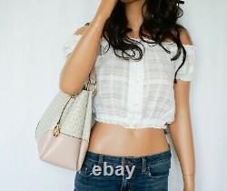 Michael Kors Nicole Large Pvc Leather Shoulder Fourre-tout Mk Vanilla Pink Powder Blush