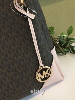 Michael Kors Nicole Large Shoulder Fourre-tout Mk Brown Signature Blush Pink 448 $