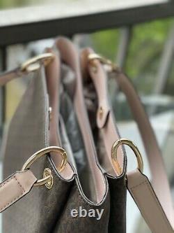 Michael Kors Nicole Large Shoulder Tote Bag Brown Signature Blush Pink Bag