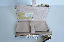 Michael Kors Nicole Lg Tote Bag + Double Zip Wristlet Mk Brown Pink Blush