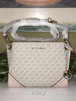 Michael Kors Nicole Triple Compartiment Small Crossbody Bag Vanilla Pink Signatur