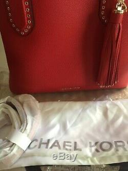 Michael Kors Rouge Vif Brooklyn Sac Fourre-tout En Cuir Nwt 498 $
