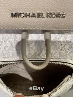 Michael Kors Sac À Dos Cargo Pour Femme, Grand, Cuir, Pvc, Blanc Brillant, Gris Argent