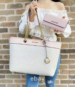 Michael Kors Shania Large Top Zip Tote Vanilla Mk Pink + Blossom Trifold Portefeuille