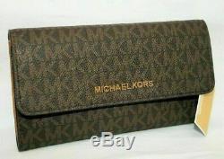 Michael Kors Sofia Mk Signature Grande Chaîne Fourre-tout Pincent Brown & Wallet Trifold