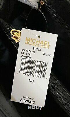 Michael Kors Sofia Noir Or Cuir Grand Emballage D'épaule De Bourse De Sac