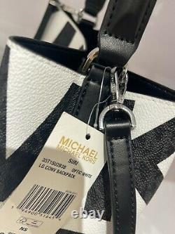 Michael Kors Suri Grand Logo Graphique Bucket Convertible Sac À Dos Mk Blanc Noir