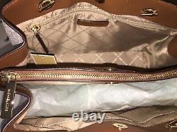 Michael Kors Teagen Large Satchel Shoulder Bag Mk Vanilla Signature Or 448 $