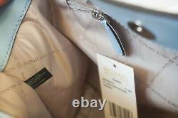 Michael Kors Teagen Long Drop Leather Chain Shoulder Tote Bag Blue Light Sky