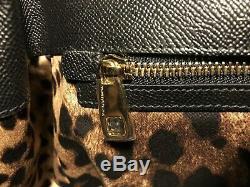 Mlle Sicile Noire Besace En Cuir De L'intérieur Du Motif Léopard Dolce & Gabbana Femmes