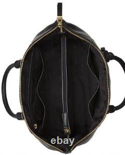 New Michael Kors Riley Grand Sac Besace Ordinateur Portable D'or En Cuir Noir Compatible