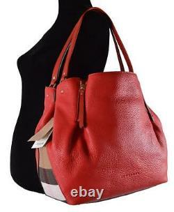 Nouveau Burberry $1,290 Red Leather Nova Check Large Maidstone Sac À Main Sac À Main