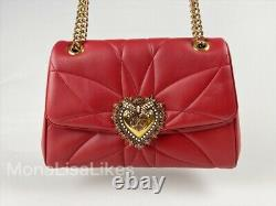 Nouveau Dolce - Gabbana Devotion Large Sac De Coeur En Cuir Rouge Sac Sac À Main Sac À Main