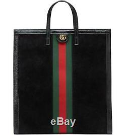 Nouveau Gucci Grand Ophidia Logo Web Black Suede En Cuir Verni Sac Fourre-tout En Cuir