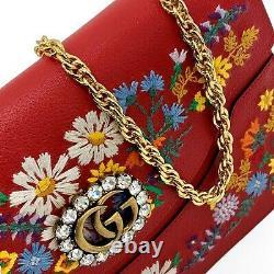 Nouveau Gucci Ricami Cristal Gg Grand Sac D'épaule En Cuir Brodé Floral 2 950 $