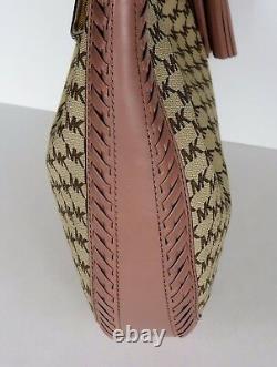 Nouveau Michael Kors Natural Fawn Lauryn Large Shoulder Bag Enduit Toile Mk Logo