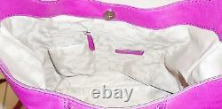 Nouveau Michael Kors Newman Fuschia, Hot Pink Leather Large Hobo, Épaule, Sac À Main