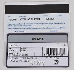 Nouveau Prada 1bc051 En Cuir Noir Vitella Daim Logo Estampé Sac À Main Fourre-tout