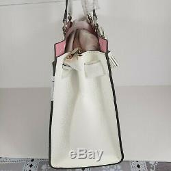 Nouvelle Kate Spade Sac À Main Hayes Grand Fourre-tout Blanc Perf Rose Sac Wkru5872 Était De 459 $