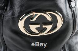 Nwot Gucci Gg Interlocking Grand Cuir Noir Britt Sac Fourre-tout Avec Sac Et Cartes