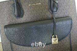 Nwot Michael Kors Mercer Extra Large Logo Pocket Pvc Fourre-tout Mk Brown Black