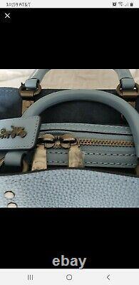 Nwt 1941 Coach Rogue 30 Pebble Leather Slate Blue Satchel Sac À Bandoulière F38124