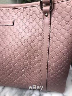 Nwt Authentique Gucci Rose Micro Guccissima Gaufrée Extra Large Fourre-tout Avec Sac À Poussière