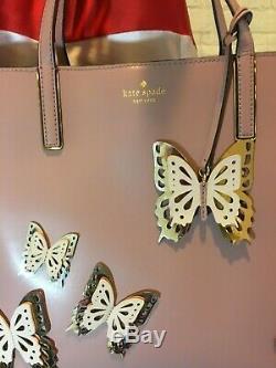 Nwt Authentique Kate Spade Peu Len Tout Le Buzz Fourre-tout En Cuir Avec Des Papillons 3d