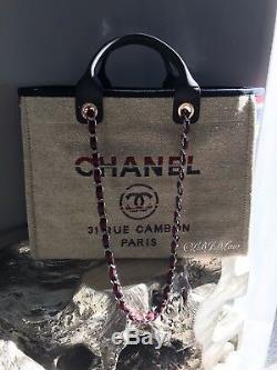 Nwt Chanel Beige Deauville Tote Rouge Bleu Gris Grand Tps Grand-shopper 2018 18a