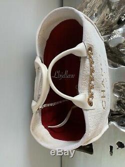 Nwt Chanel Blanc Deauville Fourre-tout D'or 2019 19a Tps Grande Sac Crème Beige