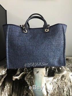 Nwt Chanel Denim Bleu Marine Fourre-tout Deauville Gold Tweed Boucle Gst Grand Shopping