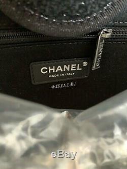Nwt Chanel Fourre-tout Noir Deauville Grand Argent Nouveau 2019 19a Gst Grand Sac De Magasinage