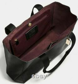 Nwt Coach Black Pebble Leather Derby Sac Sac À Main Noir /oxblood F58660